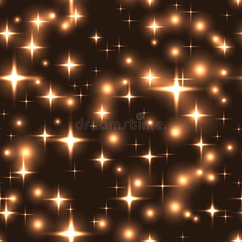 Безшовная предпосылка с звездами и нерезкостями золота иллюстрация вектора