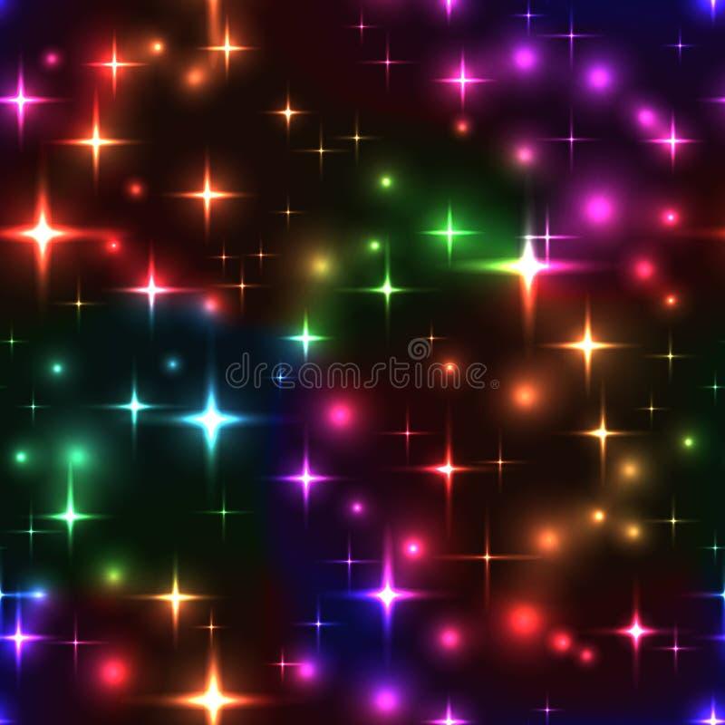 безшовная предпосылка с звездами и нерезкостями радуги иллюстрация штока
