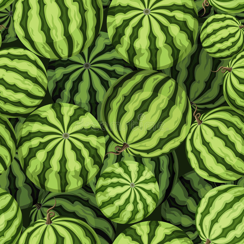 Безшовная предпосылка с зелеными арбузами также вектор иллюстрации притяжки corel бесплатная иллюстрация