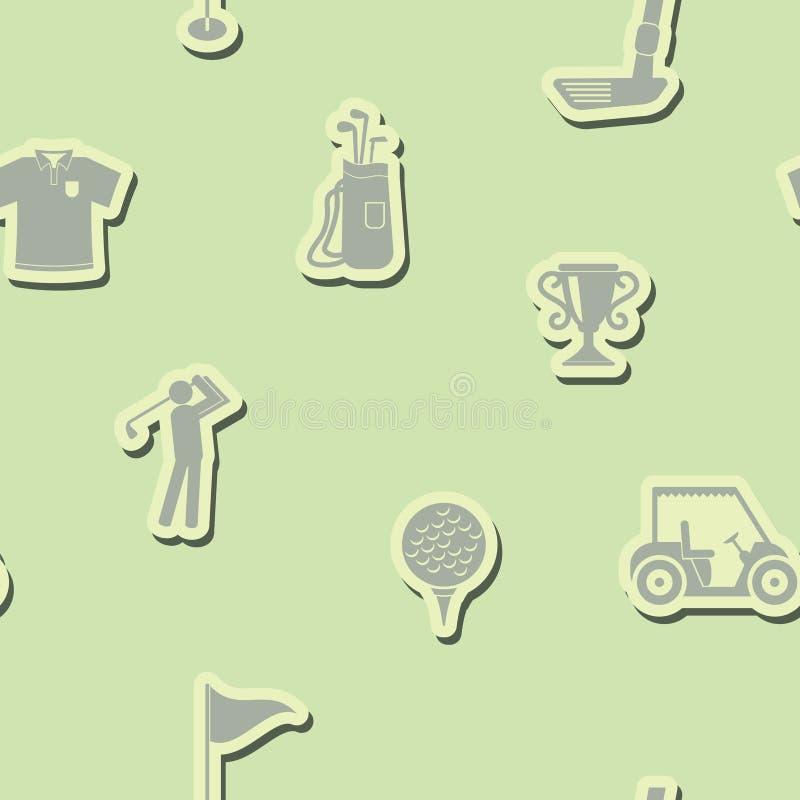 Безшовная предпосылка с значками гольфа иллюстрация вектора