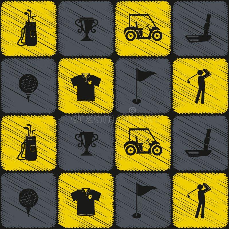 Безшовная предпосылка с значками гольфа иллюстрация штока