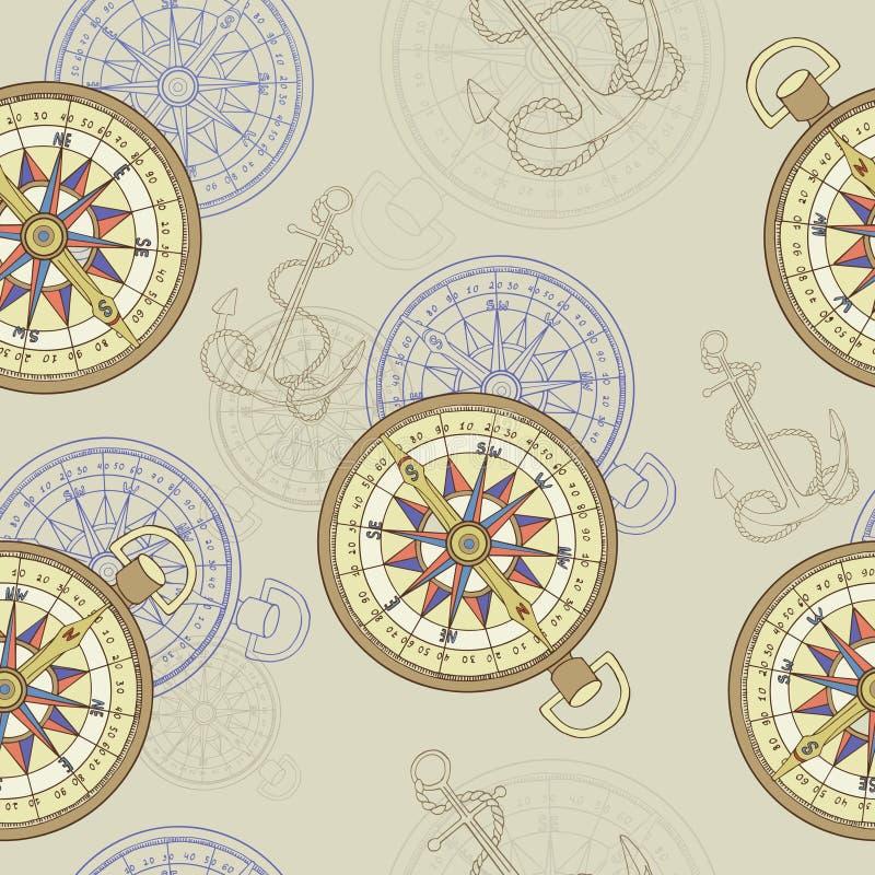 Безшовная предпосылка с компасом и анкером бесплатная иллюстрация
