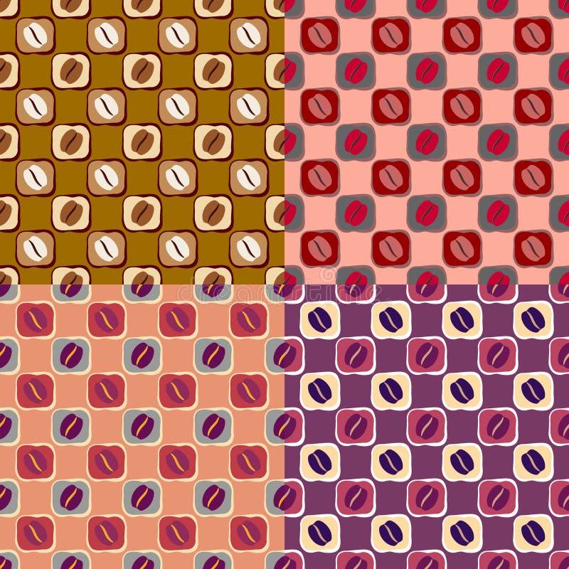 Безшовная предпосылка с кофейными зернами иллюстрация вектора