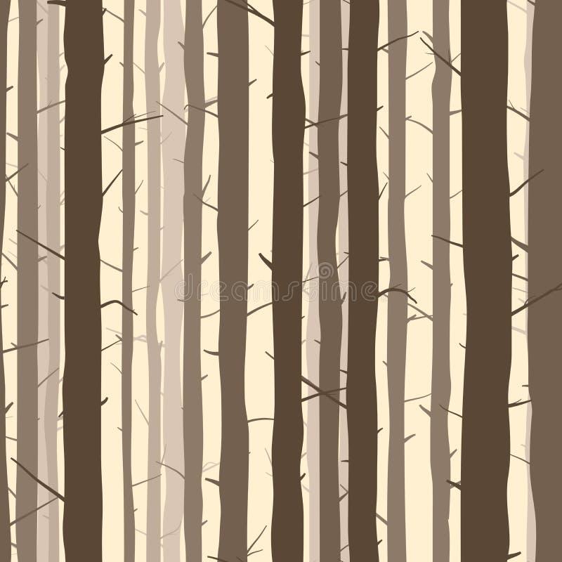 Безшовная предпосылка с много стволов дерева иллюстрация вектора