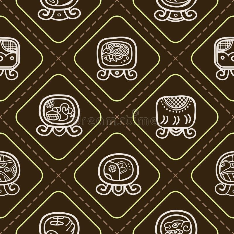 Безшовная предпосылка с днями календаря Майя названными и связанными глифами иллюстрация вектора