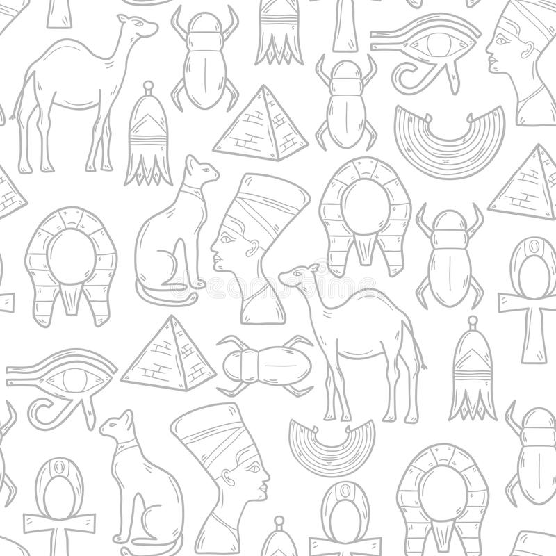 Безшовная предпосылка с объектами шаржа в руке бесплатная иллюстрация