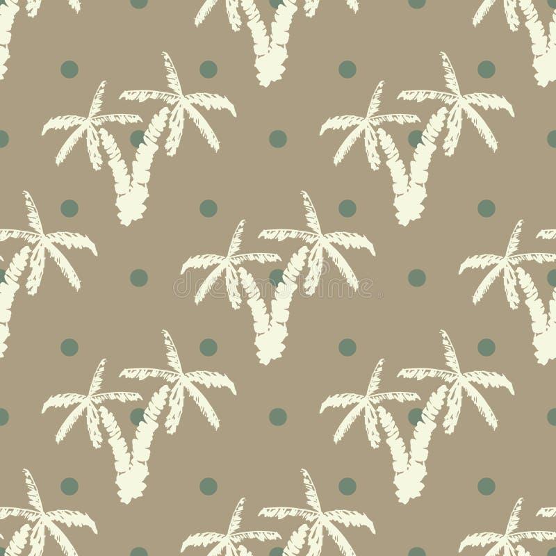 Безшовная предпосылка с пальмами нарисованными рукой, лето semless, предпосылка картины, иллюстрация вектора иллюстрация штока