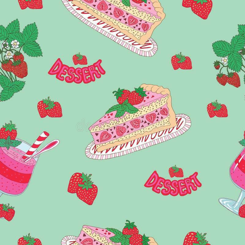 Безшовная предпосылка с пирогом и smoothie иллюстрация штока