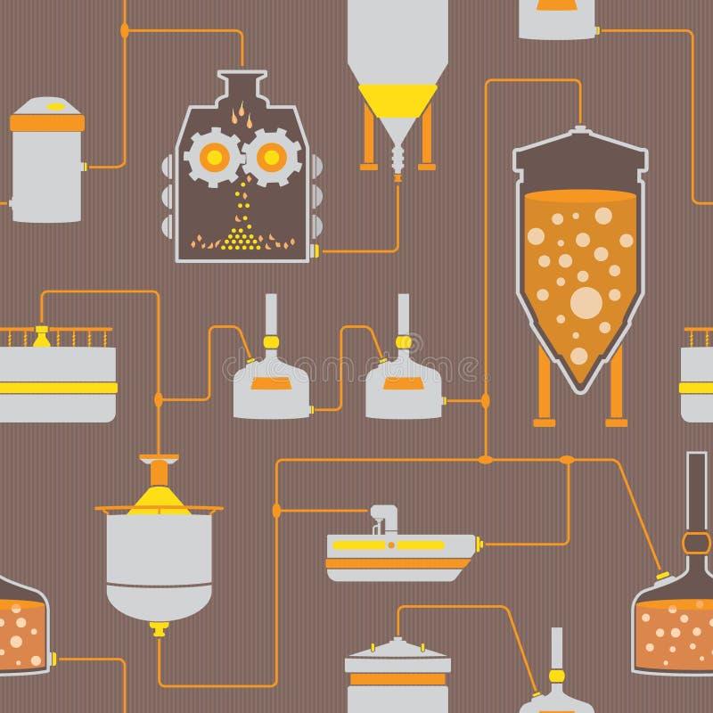 Безшовная предпосылка с процессом заваривать пива иллюстрация вектора