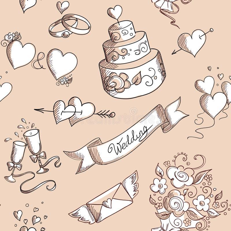Безшовная предпосылка с элементами дизайна свадьбы иллюстрация вектора