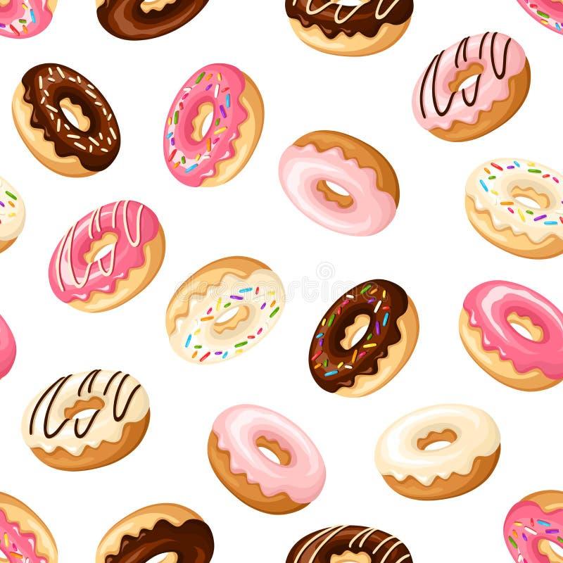 Безшовная предпосылка с donuts также вектор иллюстрации притяжки corel иллюстрация штока