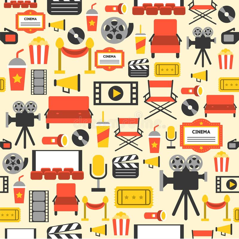Безшовная предпосылка, тема кино иллюстрация вектора