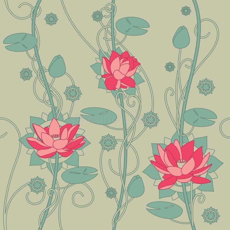 Безшовная предпосылка цветка лотоса стоковые фотографии rf