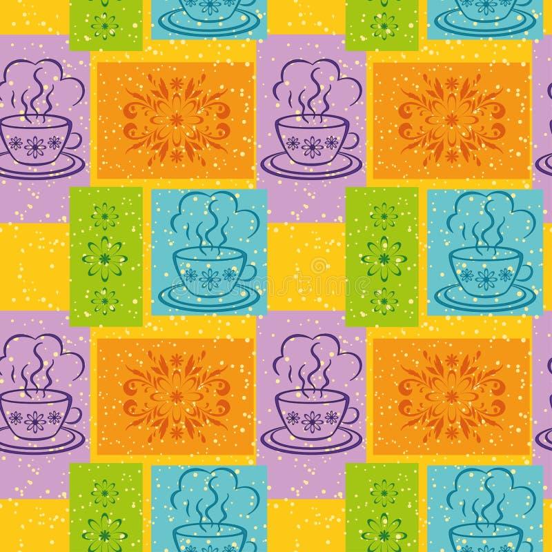 Безшовная предпосылка, чашки и флористическая картина бесплатная иллюстрация