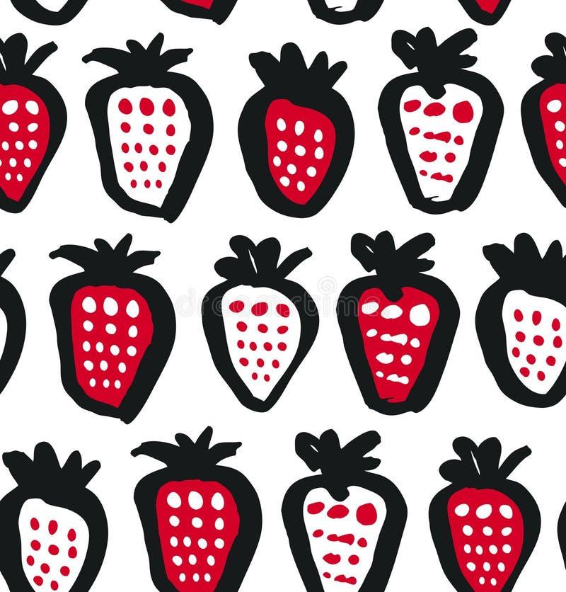 Безшовная предпосылка черноты, белых и красных контраста с ягодами Текстура ткани вектора Декоративная картина чертежа иллюстрация вектора