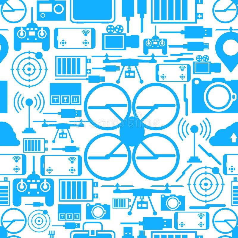 Безшовная предпосылка для комплекта quadrocopter бесплатная иллюстрация