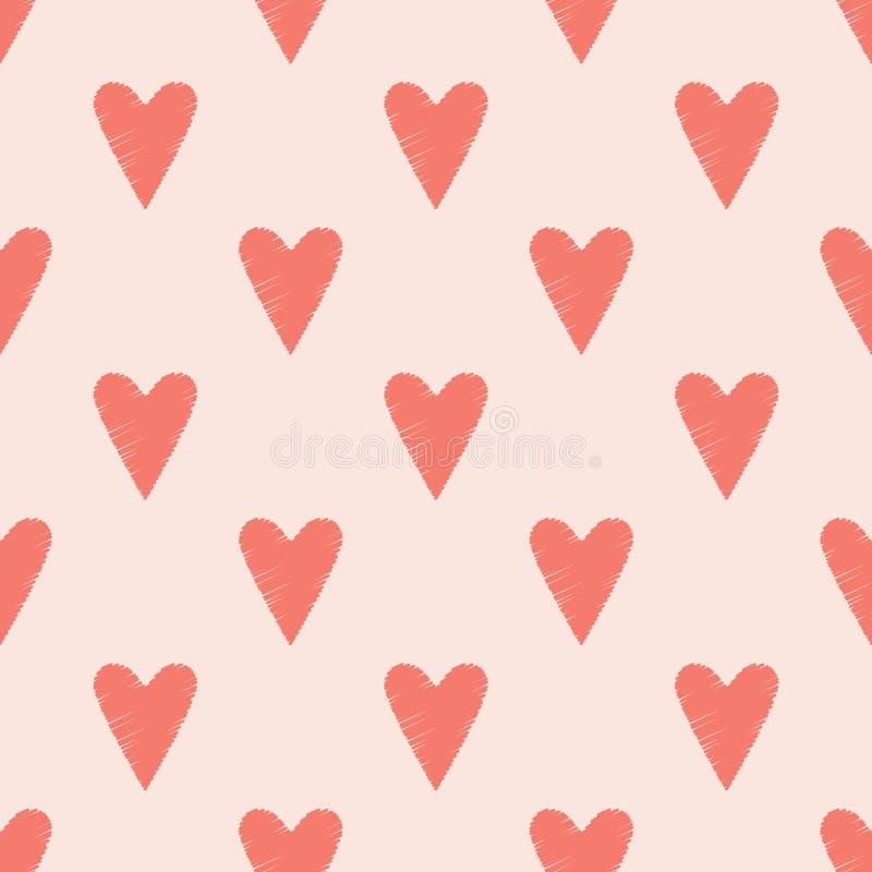 Безшовная предпосылка scribble сердца иллюстрация вектора