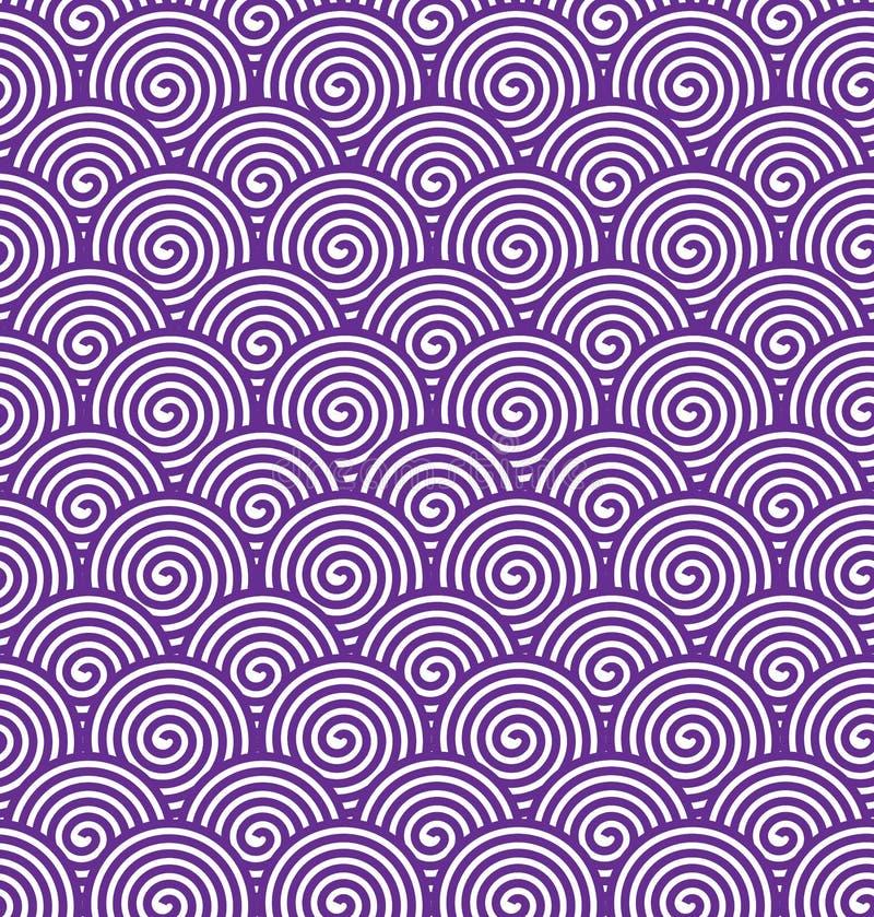 Безшовная пурпурная спиральная картина для абстрактной предпосылки иллюстрация штока