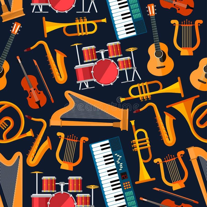 Безшовная плоская картина музыкальных инструментов иллюстрация штока