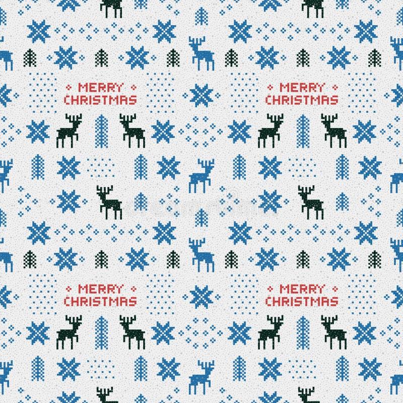 Безшовная ретро голубая картина рождества с оленями, деревьями и снежинками бесплатная иллюстрация