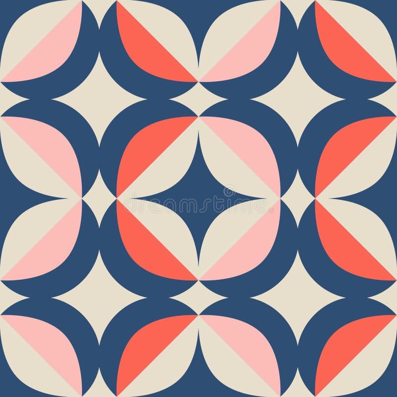 Безшовная ретро картина в скандинавском стиле с геометрическими элементами иллюстрация штока