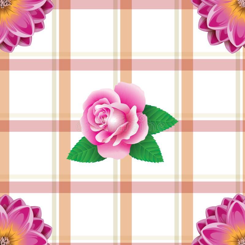 Безшовная розовая картина цветков с квадратной предпосылкой иллюстрация штока