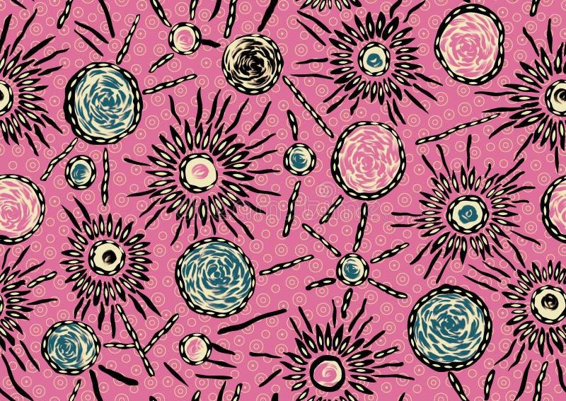 Безшовная розовая предпосылка с абстрактным декоративным дизайном иллюстрация вектора