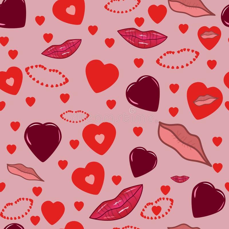Безшовная розовая романтичная предпосылка с сердцами и губами иллюстрация штока