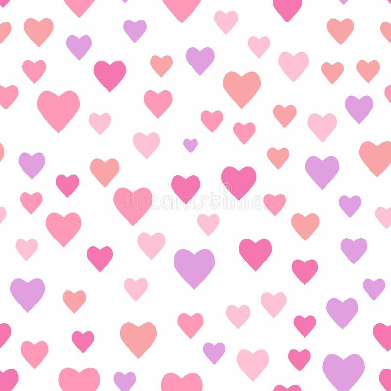 Безшовная романтичная картина со случайно разбрасываемыми сердцами r иллюстрация вектора