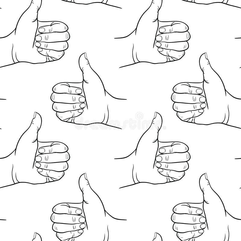 Безшовная рука картины показывая символ любит Делающ большой палец руки вверх показывать Вычерченный элемент дизайна иллюстрация штока