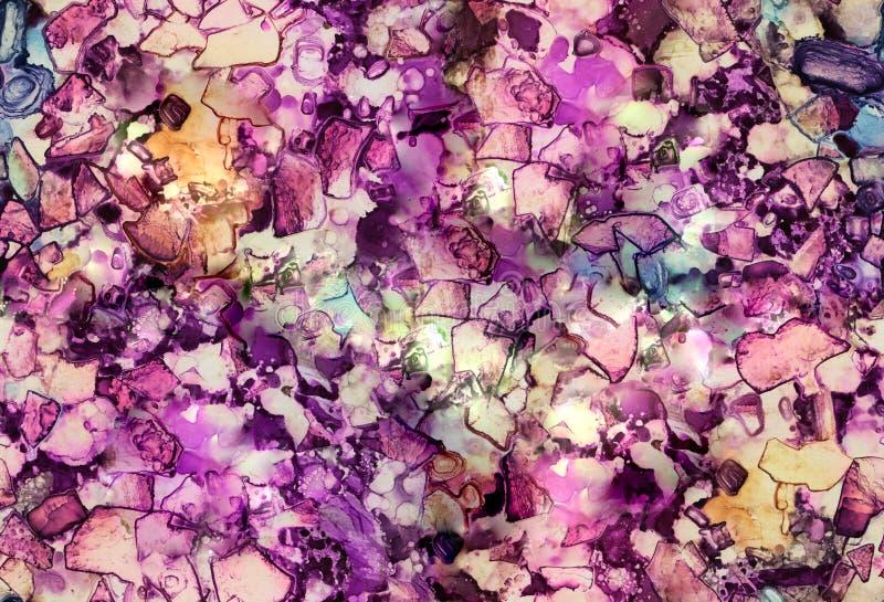 Безшовная, ручной работы текстура стекла мозаики искусства Акриловый, акварель, чернила стоковая фотография