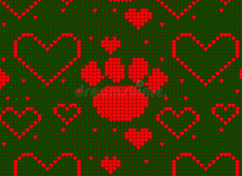 Безшовная связанная картина с предпосылкой сердца и лапки собаки иллюстрация вектора