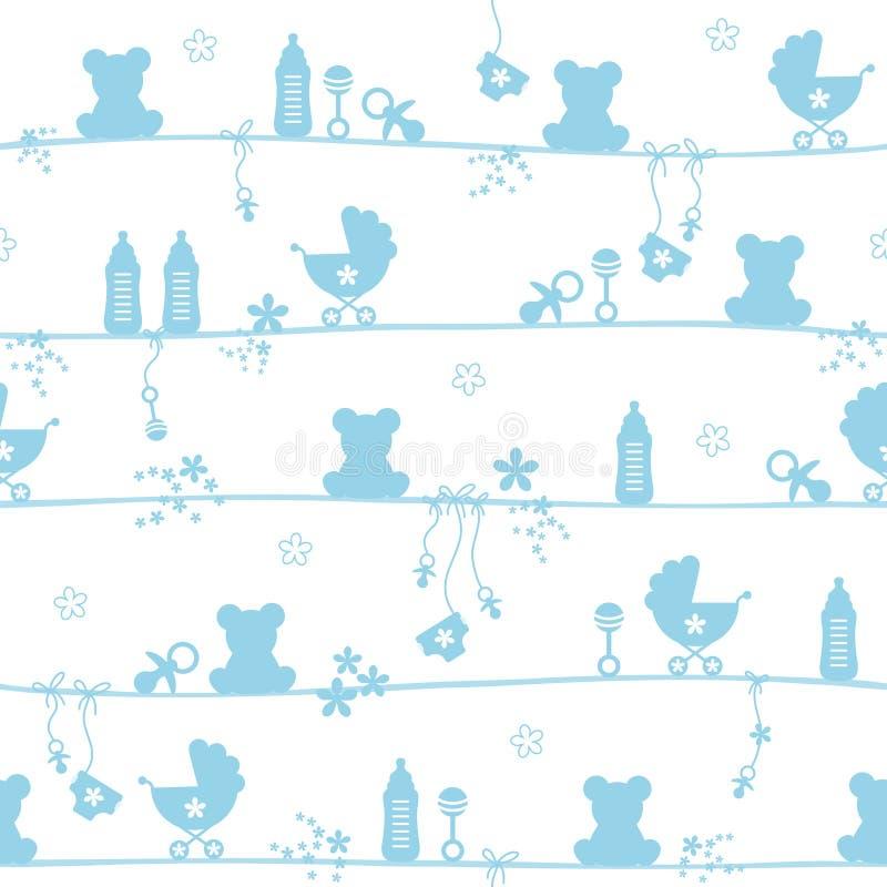 Безшовная синь силуэта значков игрушечного ребенка картины иллюстрация вектора