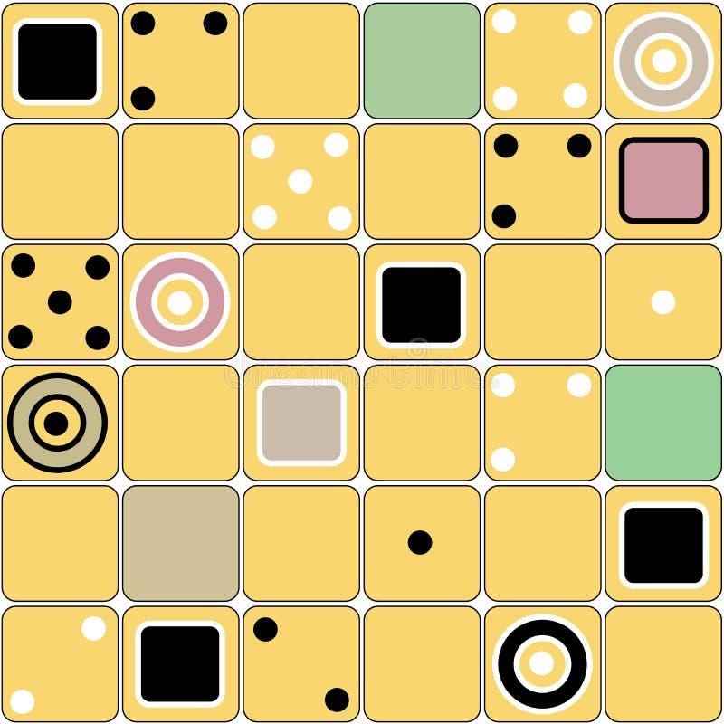 Безшовная современная картина форм квадратов с домино иллюстрация вектора