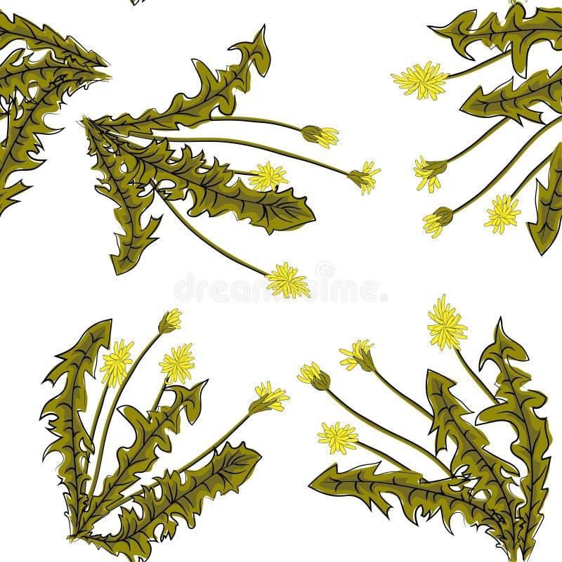 Безшовная стильная картина с одуванчиками Декоративная флористическая предпосылка бесплатная иллюстрация