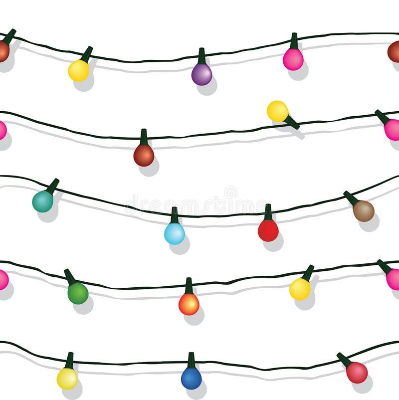 Безшовная строка светов рождества изолированных на белизне стоковая фотография