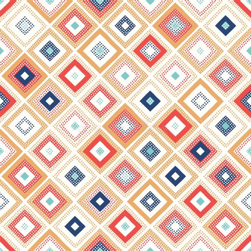 Безшовная творческая поставленная точки печать картины геометрического косоугольника текстуры квадратная иллюстрация вектора