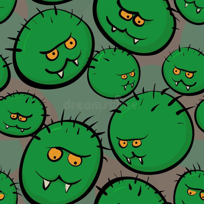 Безшовная текстура вектора - стилизованные изображения микробов и viruse иллюстрация вектора