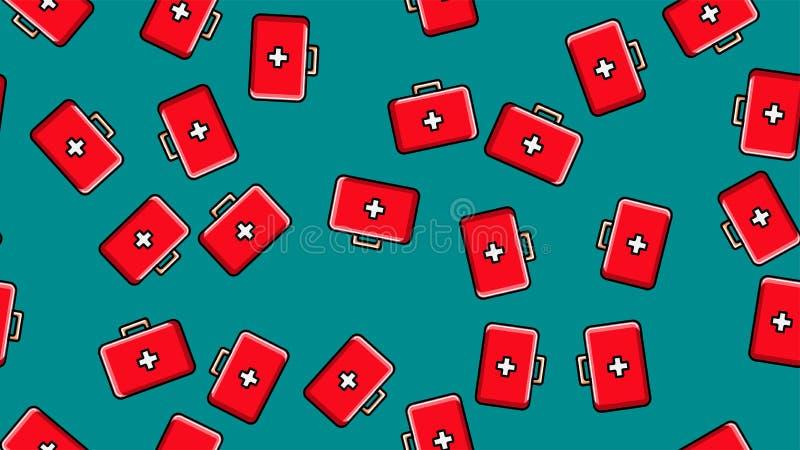 Безшовная текстура картины красных медицинских pharmaceptic бортовых аптечек с медициной, лекарств на зеленой предпосылке r иллюстрация штока