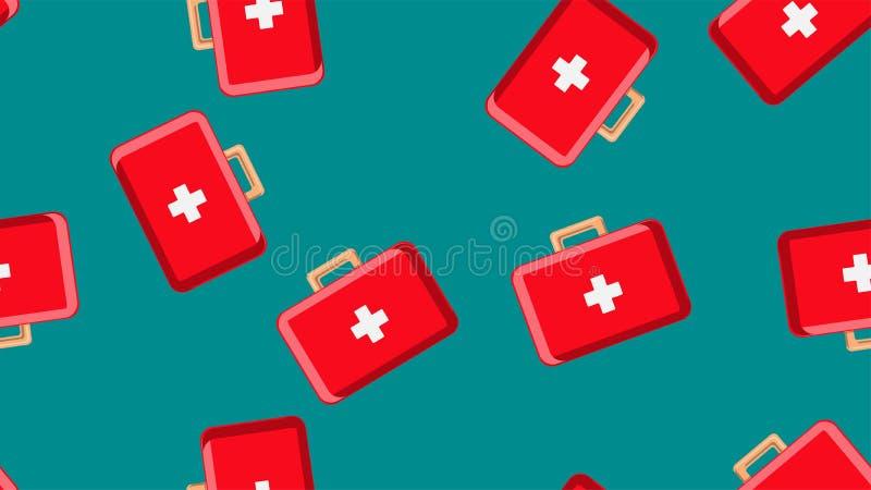 Безшовная текстура картины красных медицинских pharmaceptic бортовых аптечек с медициной, лекарств на зеленой предпосылке r бесплатная иллюстрация