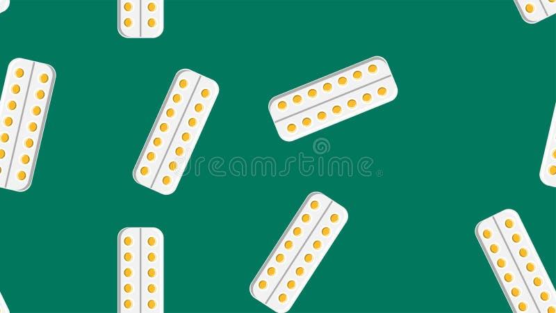 Безшовная текстура картины планшетов таблеток желтого круга медицинских целебных фармацевтических в плитах упаковывая на зеленой  бесплатная иллюстрация