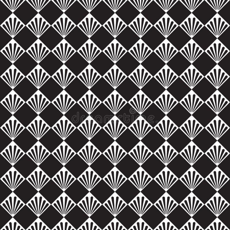 Безшовная текстура картины шахматной доски пера лист ладони вектора стиля Арт Деко бесплатная иллюстрация
