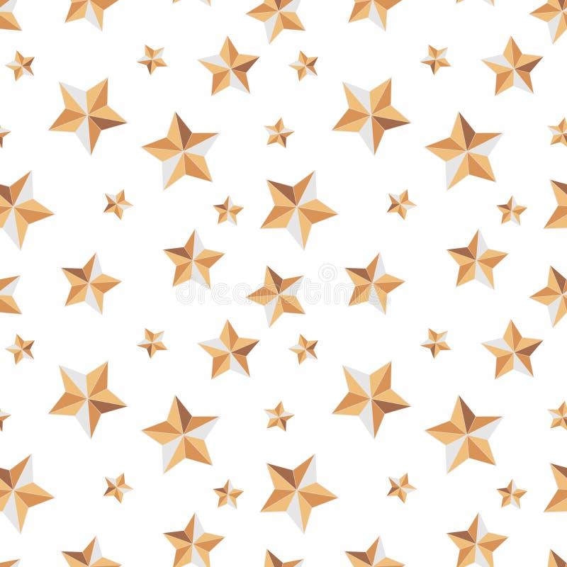 Безшовная текстура со звездами праздничными на белой предпосылке иллюстрация вектора