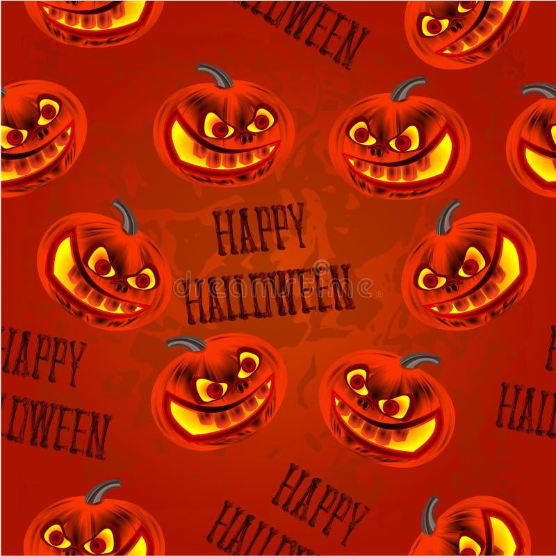 Безшовная текстура счастливый хеллоуин с вектором тыкв иллюстрация штока
