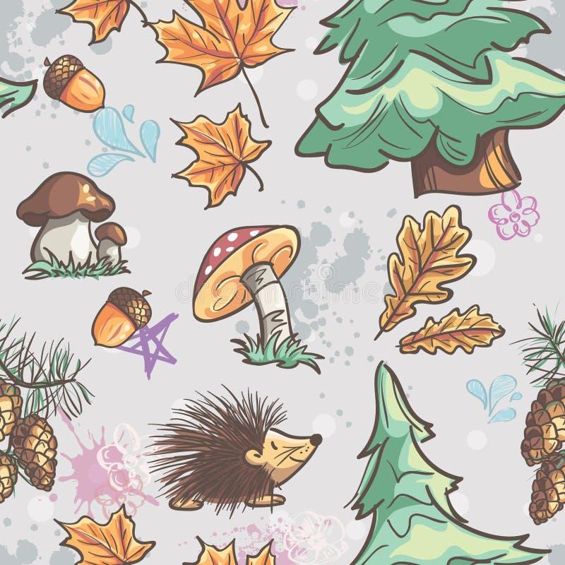 Безшовная текстура с изображением смешных маленьких животных, деревьев, грибков иллюстрация вектора
