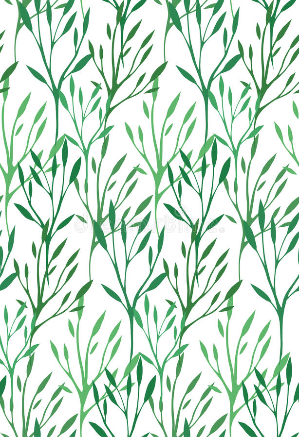 Безшовная текстура с листьями и ветвями зеленого цвета бесплатная иллюстрация