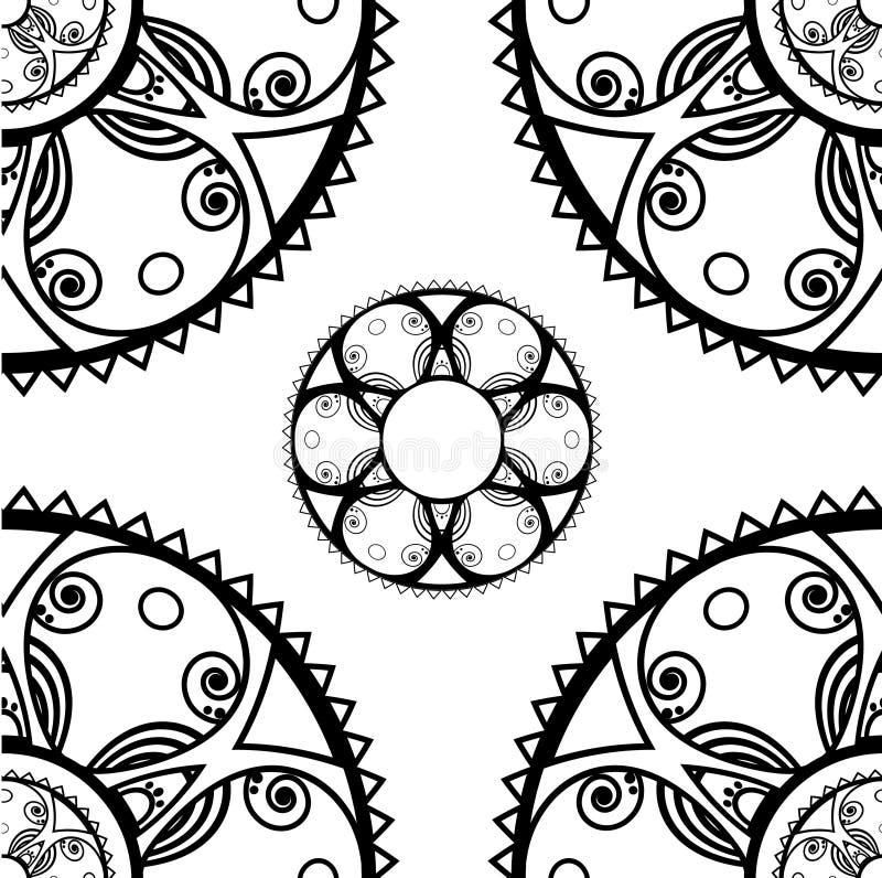 Безшовная текстура с круглыми орнаментами в monochrome иллюстрация штока