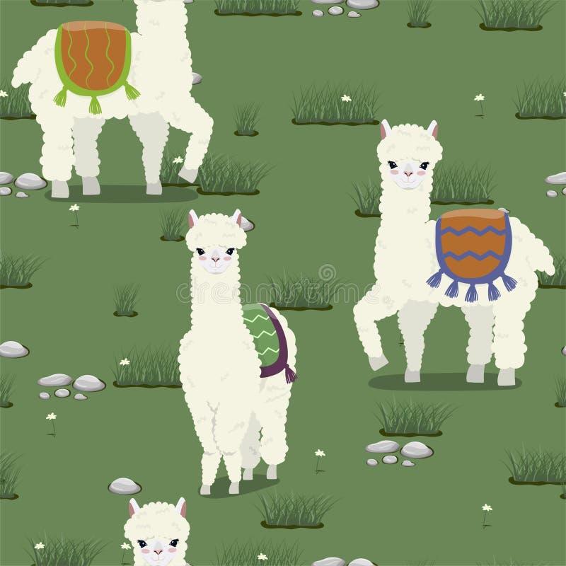 Безшовная текстура с милыми альпаками пася на луге Картина вектора иллюстрация штока