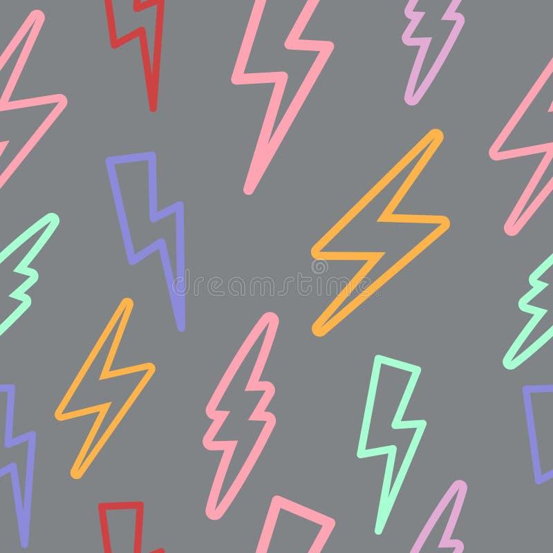 Безшовная текстура с молнией линейно иллюстрация штока