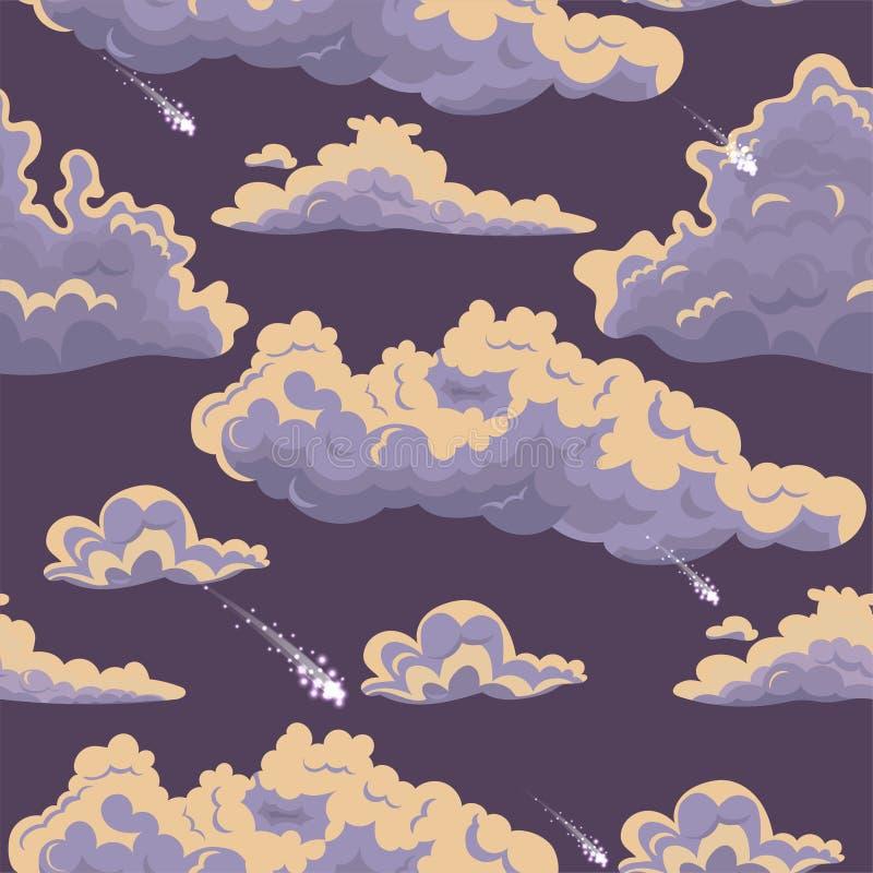 Безшовная текстура с облаками и метеоритами o бесплатная иллюстрация